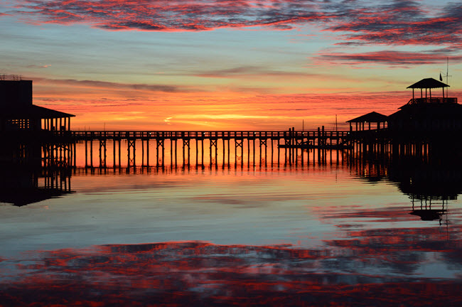 Biloxi Marina Pier at Sunrise.