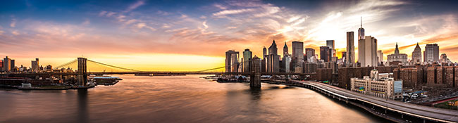 Brooklyn Bridge Panorama View.