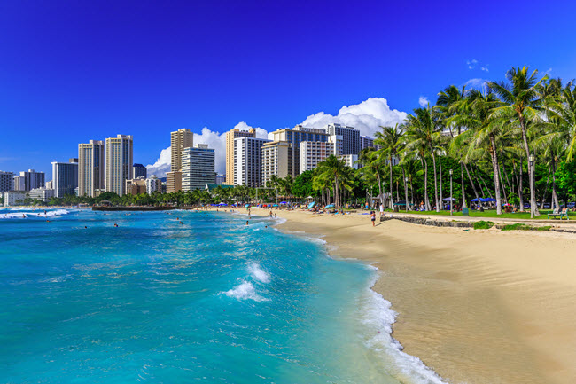 Honolulu Skyline and Beach.