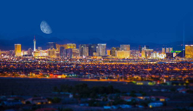 Las Vegas Strip at Night, With Moon in the Background.