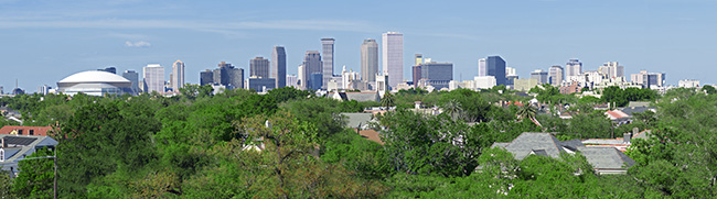 Panorama of New Orleans Skyline.